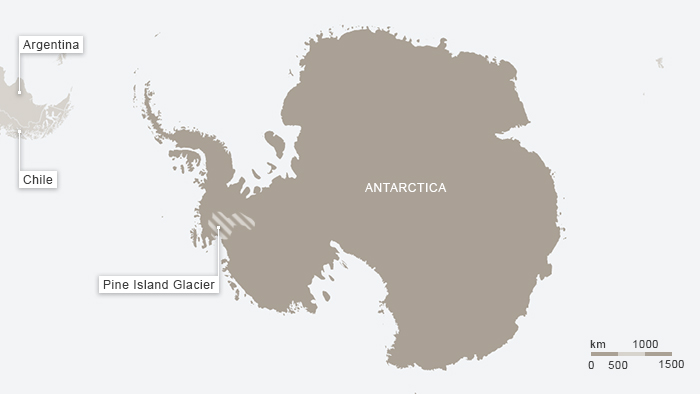 Pine Island Glacier covers a relatively small area but accounts for 20% of WEst Antarctic ice melt
