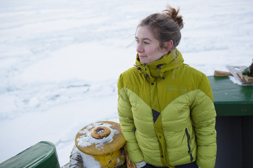 Greenpeace's Larissa Beumer on board the Arctic Sunrise in the Spitsbergen archipelago. (Pic: Nick Cobbing, courtesy of Greenpeace).