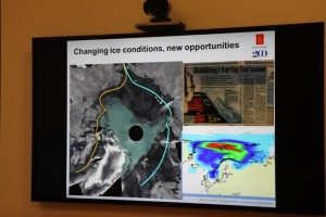 Pedersen showed us how the satellite data shows ice changes