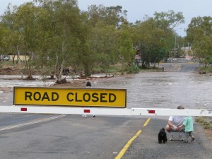 Road flooded, Alice Springs 2008