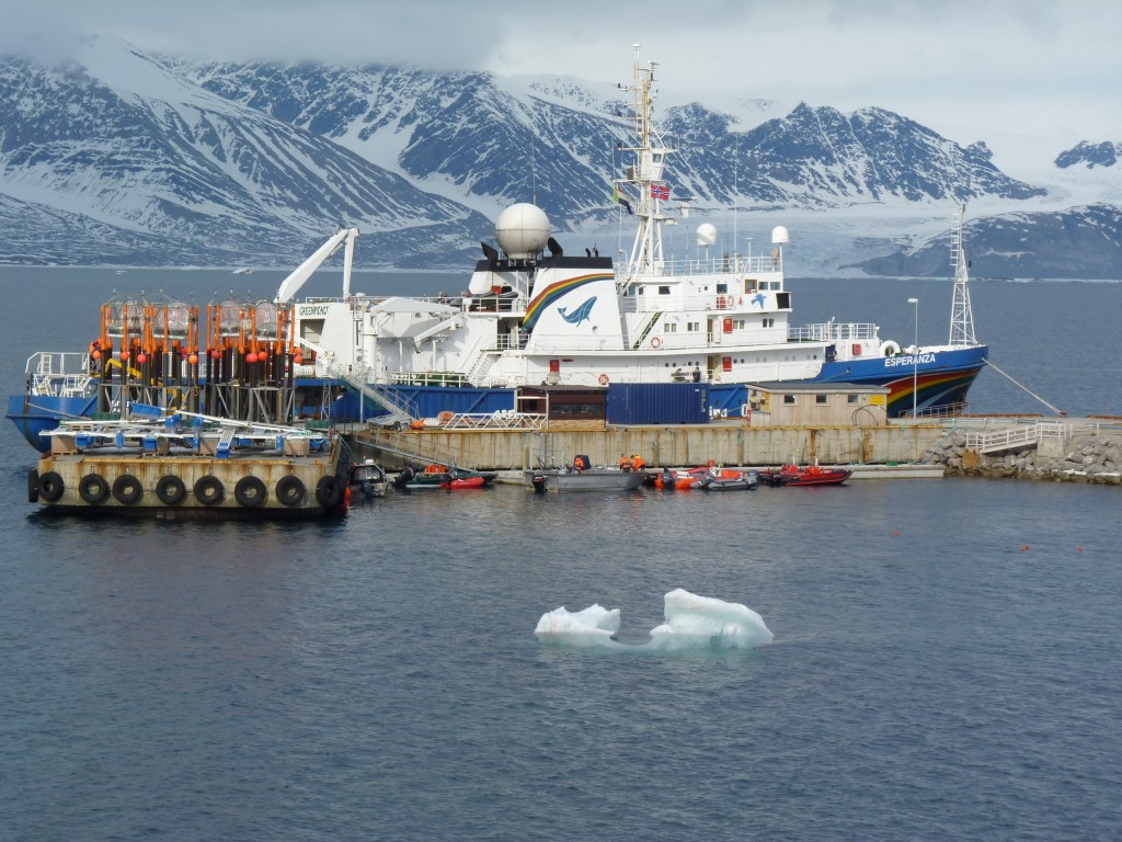 Equipment to measure ocean acidification await loading to Greenpeace ship Esperanza at Ny Alesund, 2010