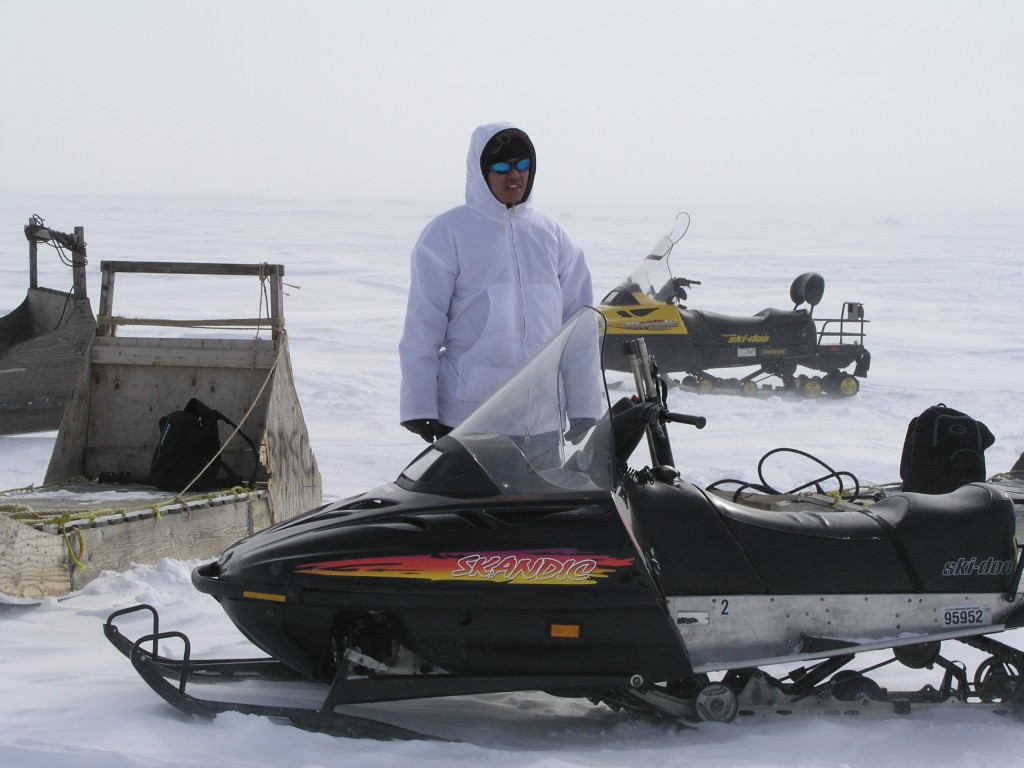 Inupiat guide and bear guard on the sea ice at Barrow. (Pic: I.Quaile)