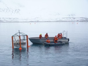 Scientists monitoring the effects of CO2 concentrations in Arctic water