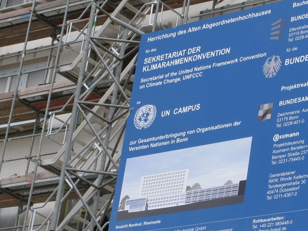 Building work on the UN climate building in Bonn