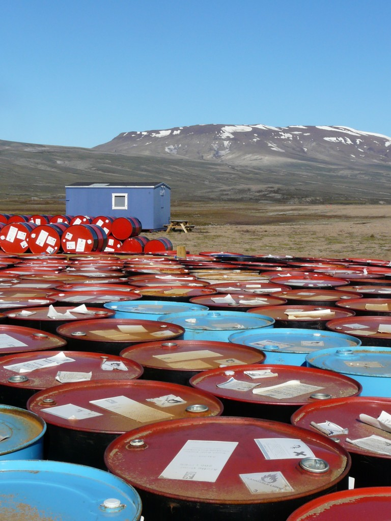 Fuel drums delivered to Zackenberg research station, Greenland (I.Quaile)