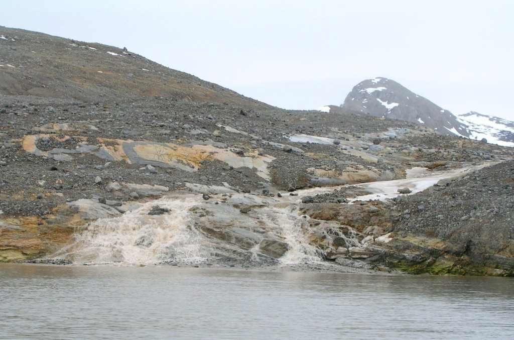 Sediment flowing into fjord near Ny Alesund, Spitsbergen (I.Quaile)