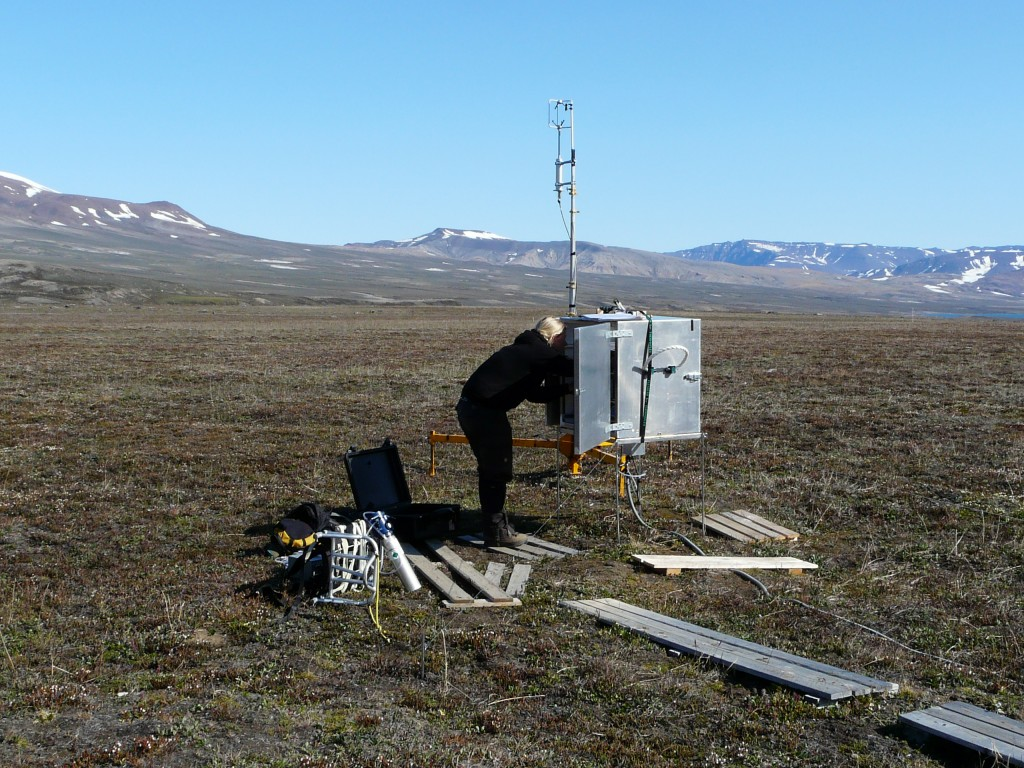 Measuring CO2 emissions from summer permafrost at Zackenberg, Greenland. GLobal emissions warm the Arctic, melting permafrost reinforces the global warming effect. (Pic: I.Quaile)