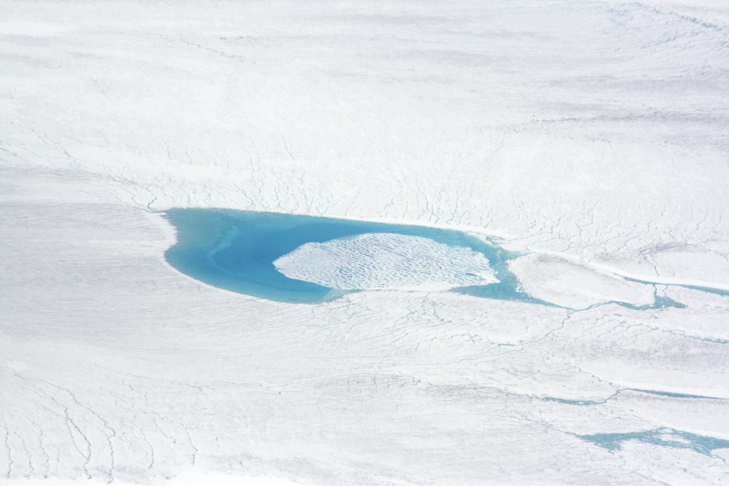 Greenland is white and blue, when melt ponds form (I.Quaile)