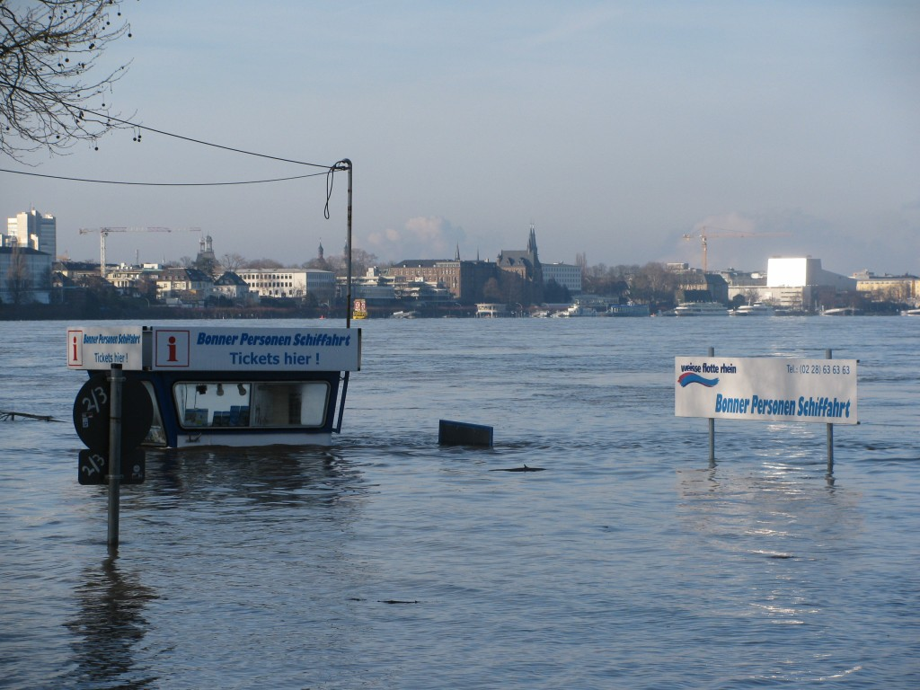 Rhine booth under water 2011