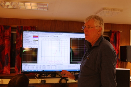 Cruise leader Stig Falk Petersen in the instruments room of the Helmer Hanssen