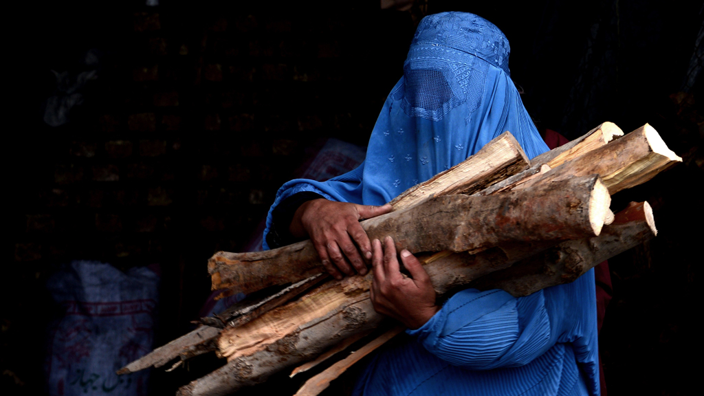 A burqa-clad Afghan woman carries chopped logs after buying them at a firewood yard in Herat. Photograph taken on February 23, 2015 (© AFP/Getty Images/A. Karimi)