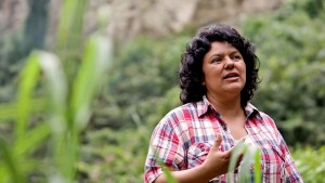 In this Jan. 27, 2015 photo released by The Goldman Environmental Prize, Berta Caceres speaks to people near the Gualcarque river located in the Intibuca department of Honduras. (Tim Russo/Goldman Environmental Prize via AP) |