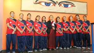 The dancers of Maiti Nepal with Anuradha Koirala (center) in Cologne.