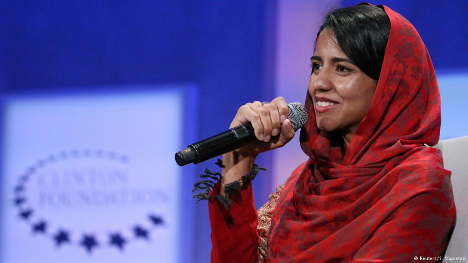 Sonita is now an activist, shown here speaking at the Clinton Global Initiative in NY in 2016
