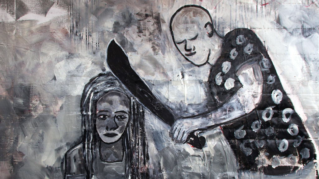 "Painting from Catita Dias that illustrates the Elsa Figueira film poster. The film titled ""Elsa Figueira"" deals with a young woman standing up to violence from the man she loves. (© DW/C. Dias)"