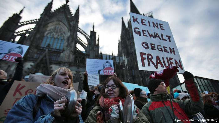 "Demonstration for women's rights in Cologne. ""Keine Gewalt gegen Frauen"" (no violence against women)"